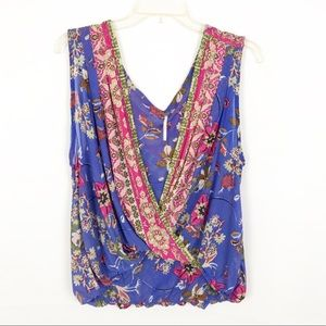 FREE PEOPLE Floral Sleeveless Blouse-Deep V-Neck-S